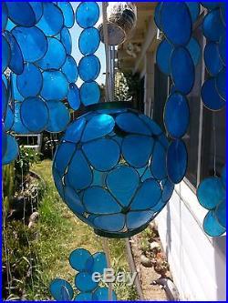 Rare Vintage Blue Capiz Shell Hanging Chandelier lamp with 2 orb pendants