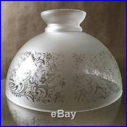 Rare Vintage Etched Frosted Glass Oil Kerosene or Hanging Lamp Shade 14'