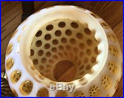 Rare Vintage Fenton Art Glass Honeysuckle Opalescent Coin Dot Hanging Swag Lamp