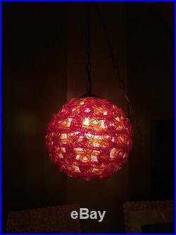 Rare Vintage Huge Chunky Mid Century Spaghetti Hanging Swag Lamp Light Red Swirl