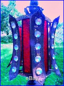 Rare Vintage Jeweled AURORA BOREALIS & Stained Glass Hanging LampFree Shipping