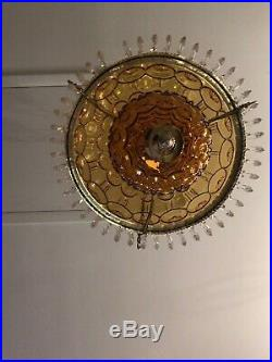 Rare Vintage L E Smith Amber Moon & Star Hanging Light With Prisms 14 Shade