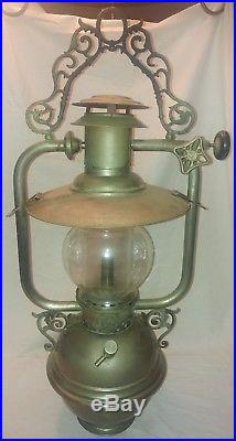 Rare Vintage Nulite Hanging Lamp National Stamping Company Chicago One Of A Kind