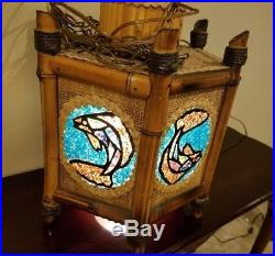 Rare Vintage Orchids of Hawaii Lamp Tiki Style Hanging Ceiling Light Fish Glass