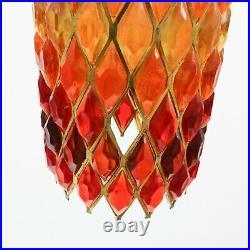 Rare Vtg Swag Hanging Lamp Lucite Chunk Orange Red Diamond 60s Retro Mid Century