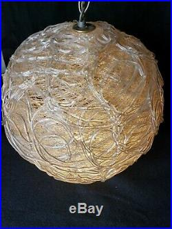 Rare White Vintage Snowball Hanging SWAG LAMP Light Spaghetti Spun Glass Ball