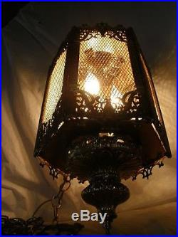 Rare vintage hollywood regency brass french hanging swag chandelier lamp light