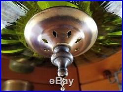 Restored Vintage Mid Century UFO Green Optic Blown Glass Hanging Swag Lamp Light