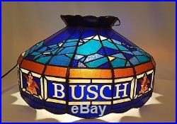 Retro Blue Busch Beer Hanging Ceiling Tiffany Style Plastic Lamp Light Vintage