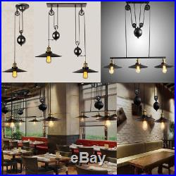 Retro Hanging Ceiling Lamp Vintage Industrial Pendant Retractable Pulley Lights