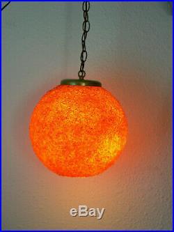 Rock Candy Resin Swag Lamp Hanging Vintage Mid Century MCM Orange spaghetti
