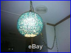 Rock Candy Resin Swag Lamp Hanging Vintage Mid Century Turquoise EUC