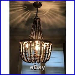 Rustic Vintage Gray Wood Bead Chandelier Hanging Pendant Lamp Fixture Boho Chic