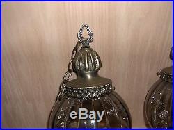 SET of 2 VINTAGE HANGING SMOKEY ORB GLASS GLOBE LAMP SWAG LAMP MID CENTURY