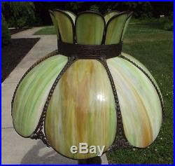 SLAG GLASS LAMP SHADE antique Vintage light ceiling or table green EXTRA LARGE