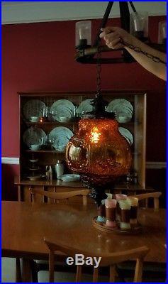 SWAG HANGING LAMP Vintage Retro Mid century modern Amber Glass black chain