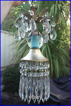 SWAG lamp chandelier crystal prism Vintage Icy Blue Turquoise tole Brass