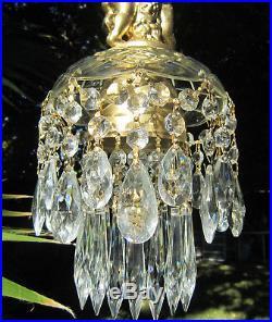 SWAG plugin Vintage Glass crystal Cherub hanging Lamp Chandelier brass plt 1of2