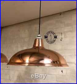 Sedgeford 3 X Solid Copper Hanging Ceiling Table Lght Vintage Lamps & Frame