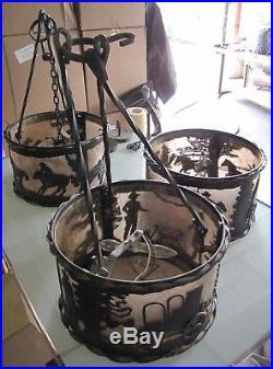 Set Of 3 Antique Meyda Tiffany Western Cowboy Vintage Hanging Lamps