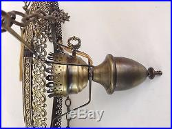 Set of 2 Vintage Amber Glass Hobnail Globe Hanging Hurricane Lamps 3-Way