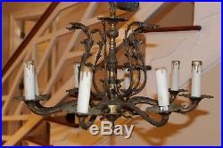 Spain True VTG 8 Arm Brass Chandelier Ceiling Cap Lamp Hanging Light Lamp Wired