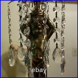 Spelter Cherub Vintage hanging Chandelier Crystal Brass Tole Pendant Lamp light