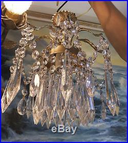 Spider Ceiling hanging Lamp Brass Spelter chandelier Vintage Hollywood Regency