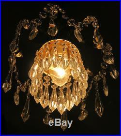 Spider leaf SWAG hanging Lamp Brass Spelter chandelier Vintage Hollywood Regency