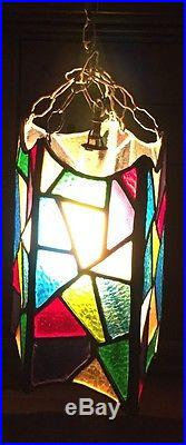 Stained Glass Hanging Lamp Light Plug In Mid Century Geometric Polygon Vintage