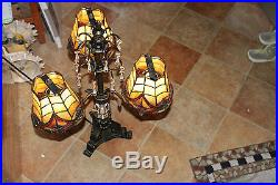 Stunning Vintage Style Table Lamp-3 Light Lamp-Hanging Crystals-Slag Glass Shade