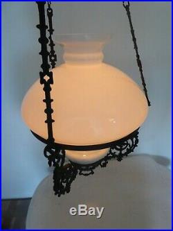 Stunning Vintage antique hanging oil lamp with Royal Brenner burner