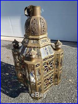 Stunning Vtg Pierced Dome Brass Moroccan Moravian Hanging Hall Lamp 32.5 Tall