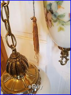 Swag Lamp Hanging Chain Light 3 Tier Chandelier Vintage Hollywood Regency Gold
