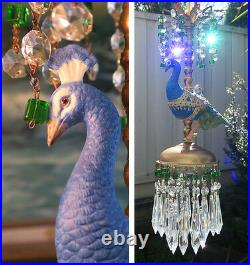 Swag Lamp Peacock paradise jeweled porcelain Carousel Chandelier Vintage beads