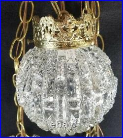 Swag Lamp Vintage Double Hanging Unusual Glass Globes Light Fixture retro MCM