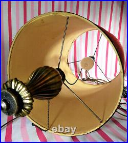 Swanky Vintage 1970's Red VELVET 26 Hanging Drum Shade SWAG Lamp with Pull Chain
