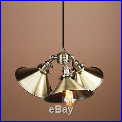 Three-headed Vintage Industrial Copper Hanging Pendant Light Shade Ceiling Lamp
