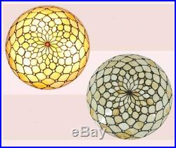 Tiffany Glass Flush Mount Ceiling Light Vintage Lampshade Hanging Lamp Fixture