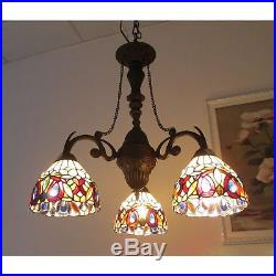 Tiffany Style 3 Light Chandelier Hanging Vintage Antique Lamp Stained Glass