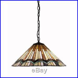 Tiffany Style Arrow Head Hanging Lamp Stained Glass Vintage Rustic Chandelier