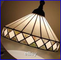 Tiffany Style Hanging Floor Lamp Stained Glass Vintage Light Handcrafted Lamps