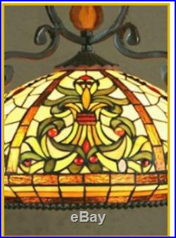 Tiffany Style Pendant Light Glass Stained Hanging Lampshade Handcrafted Vintage