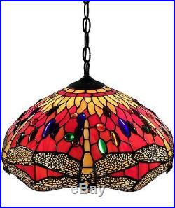 Tiffany Victorian Style Vintage Look Red Dragonfly Stained Glass Hanging Lamp