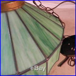 Unique Green Vintage Stained Glass Hanging / Light e LAMP & SHADE / Slag Glass