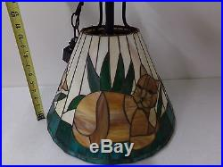 Unique Vintage Heavy Stained Glass Hanging Lamp Chandelier with Cats