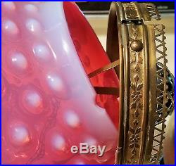 VICTORIAN cranberry hobnail art glass hanging library lamp globe vtg fenton ball