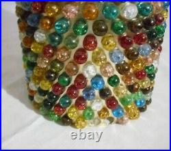 VINTAGE 1950's HANGING SWAG LAMP with COLORED CRACKLED GLASS MARBLES for repair