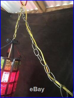 VINTAGE Amber RETRO MID CENTURY LUCITE CHUNK SWAG HANGING LAMP