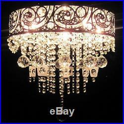 VINTAGE Hanging Pendant Chandelier Glass Crystals Grand Light Lamp Silver Chrome